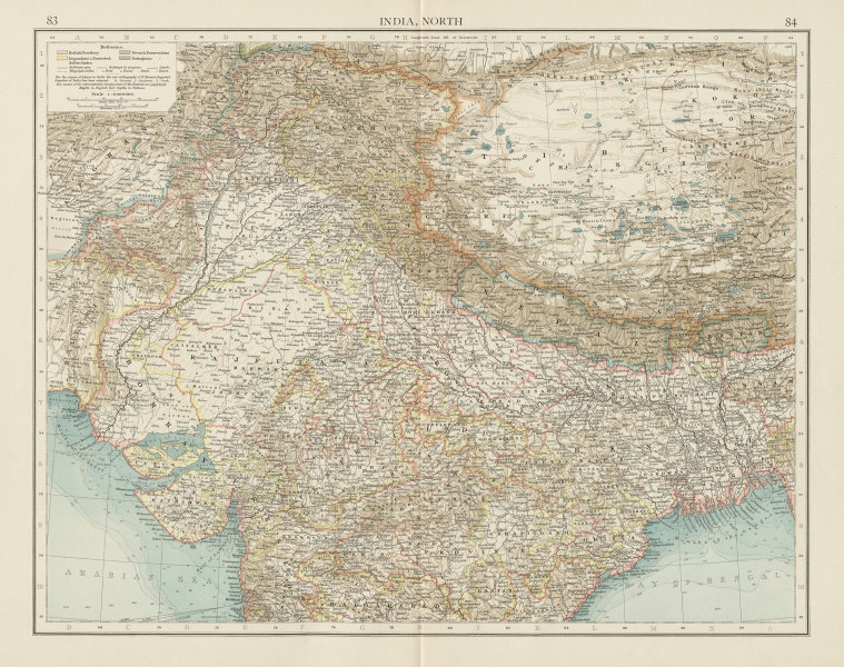 Associate Product India North. British French Portuguese Native states. THE TIMES 1900 old map
