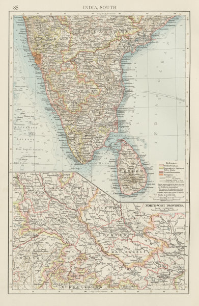 Associate Product India South & North-west Provinces. Goa British French Portuguese TIMES 1900 map