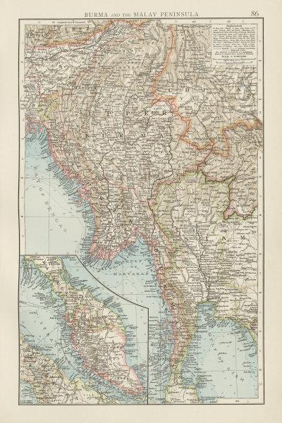 Associate Product Burma & the Malay Peninsula. Myanmar Yunnan Siam Thailand Assam. TIMES 1900 map