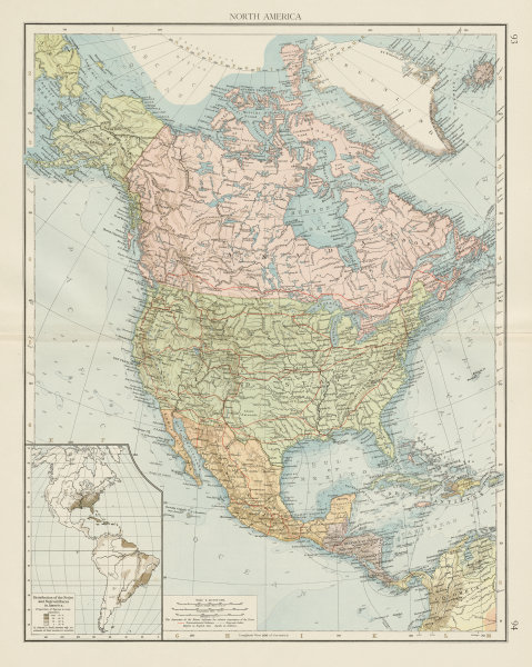 Associate Product North America showing railways. Inset negro distribution. THE TIMES 1900 map