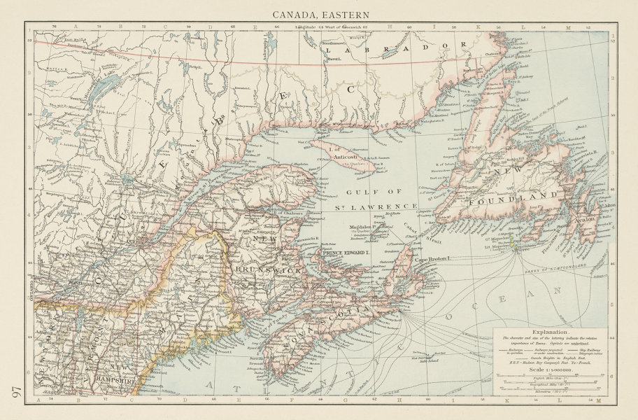 Associate Product Canada, Eastern. Gulf of St Lawrence. Maritime Provinces. THE TIMES 1900 map