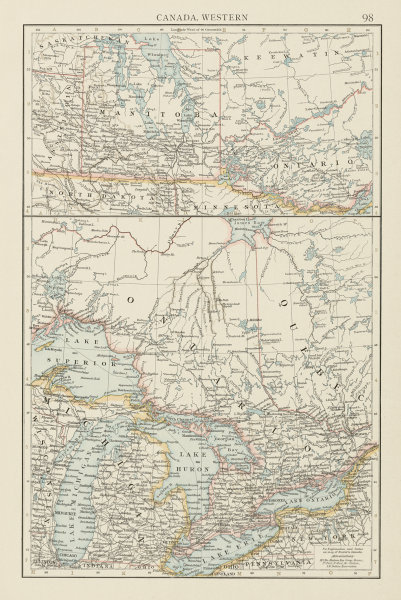 Associate Product Canada, Western. Manitoba postage stamp. Great Lakes. THE TIMES 1900 old map