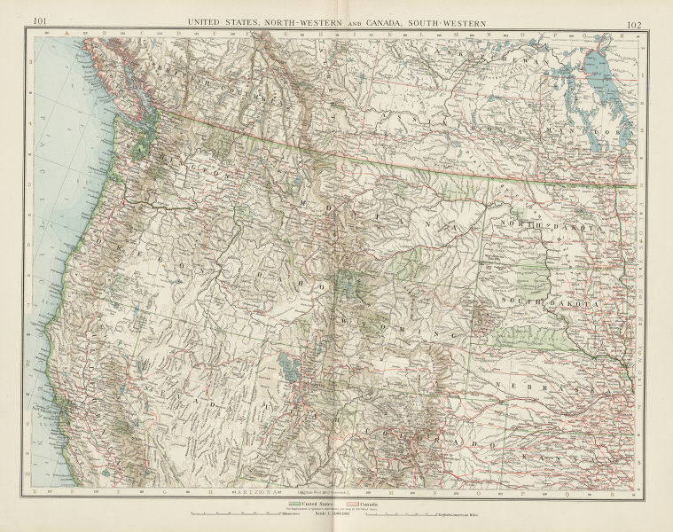 Associate Product United States North-West. Canada SW. Railways Indian Reservations TIMES 1900 map