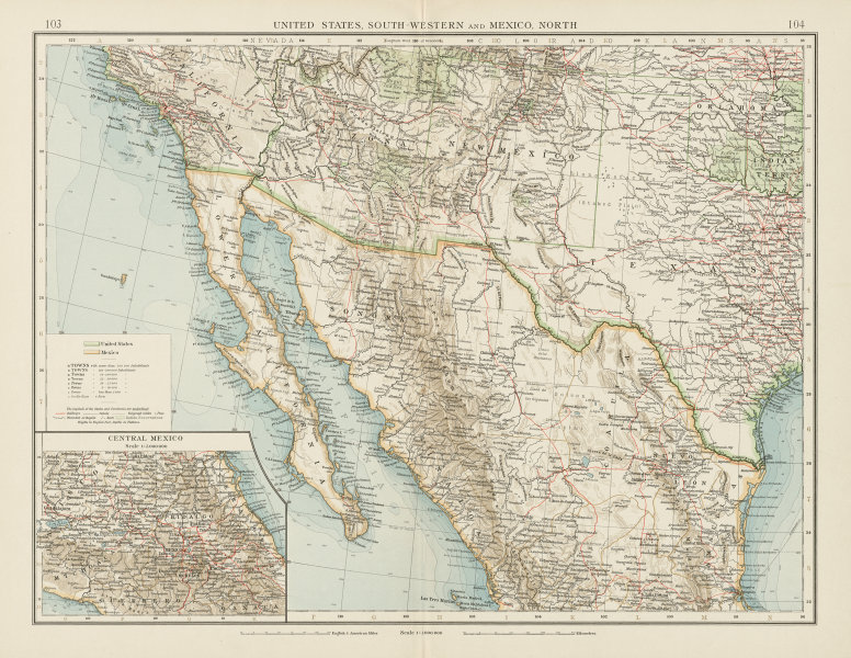 Details about United States South-West. Mexico North. Indian Reservations.  TIMES 1900 map