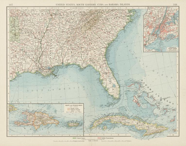 Details about United States Deep South-East Cuba Bahamas Hispaniola Puerto  Rico TIMES 1900 map
