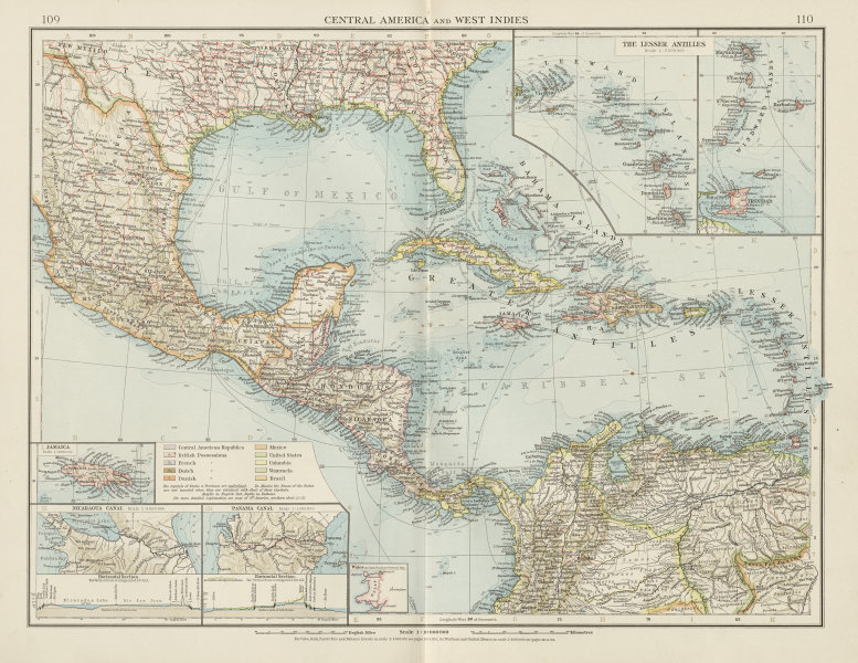 Associate Product Central America and West Indies. Nicaragua & Panama Canal. THE TIMES 1900 map