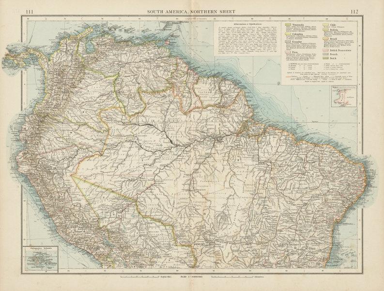 South America, North. Amazonia Brazil Venezuela Colombia Ecuador TIMES 1900 map