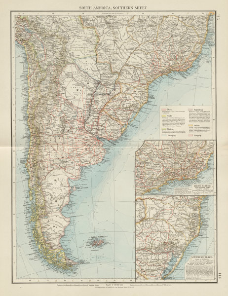 Associate Product South America, Southern. Argentina Chile Uruguay Brazil Paraguay. TIMES 1900 map