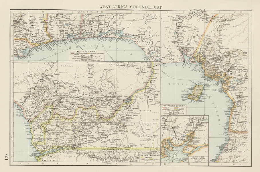 Associate Product Colonial West Africa. Nigeria Cameroon Congo. British German. TIMES 1900 map