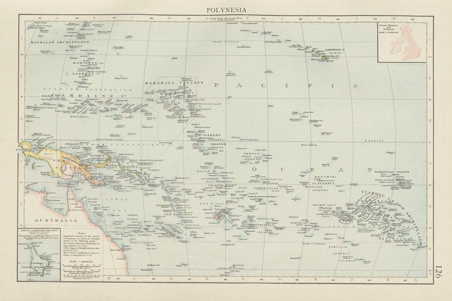 Associate Product Pacific Islands. Polynesia Micronesia Melanesia. Fiji Caroline &c TIMES 1900 map