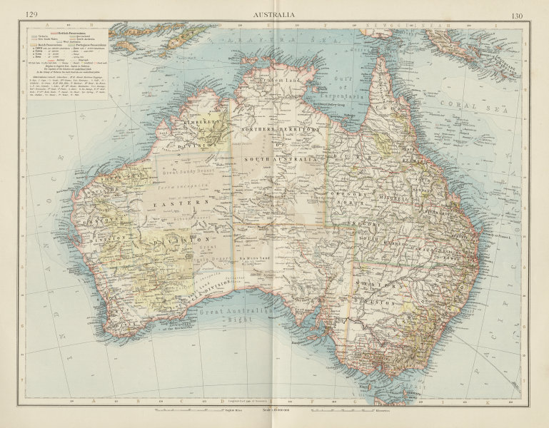 Australia Map 1900.Details About Australia Showing Goldfields Coral Reefs Railways The Times 1900 Map