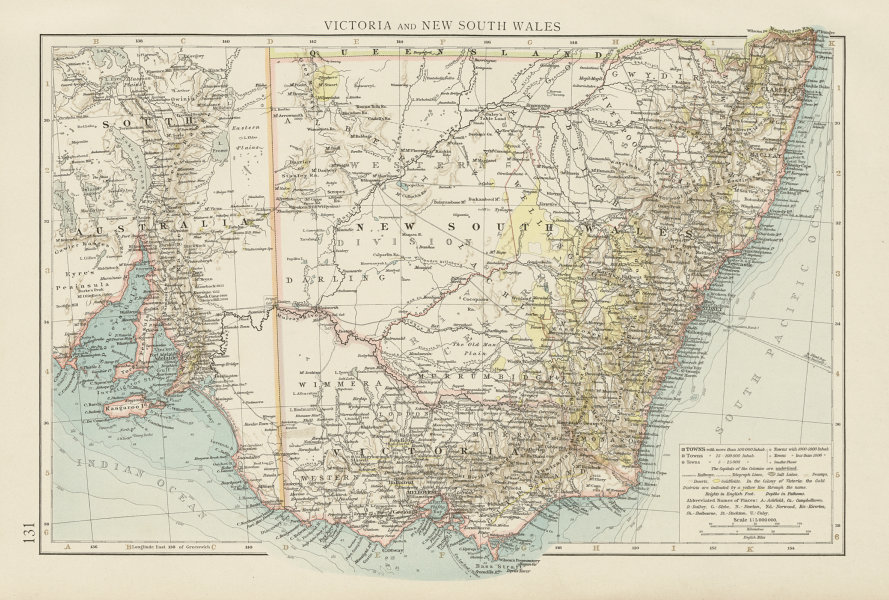 Australia Map 1900.Details About Victoria New South Wales Showing Goldfields Australia The Times 1900 Map