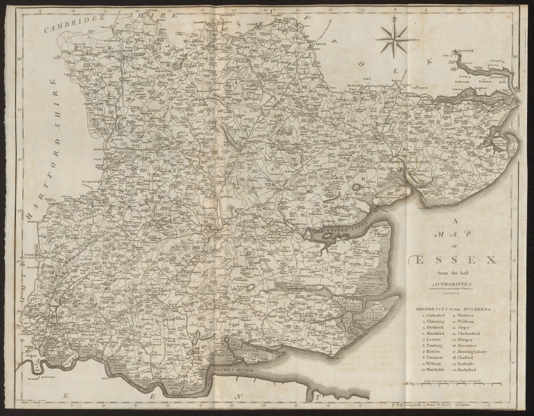 """Associate Product """"A map of Essex from the best authorities"""". County map. CARY 1805 old"""