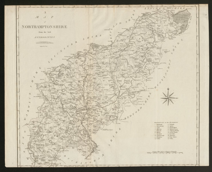 """Associate Product """"A map of Northamptonshire from the best authorities"""". County map. CARY 1805"""