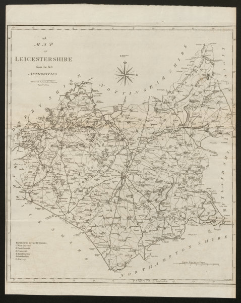 """Associate Product """"A map of Leicestershire from the best authorities"""". County map. CARY 1805"""
