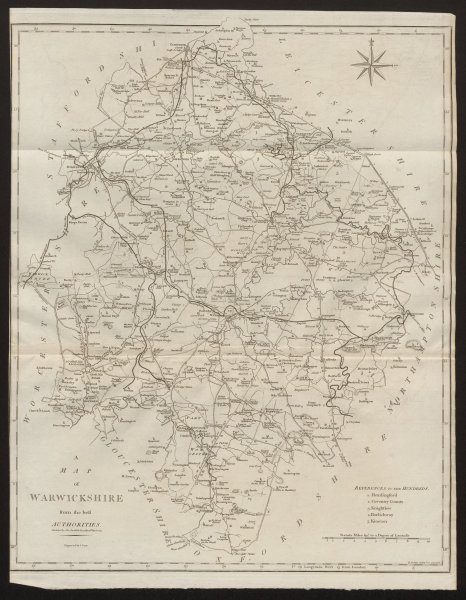 """Associate Product """"A map of Warwickshire from the best authorities"""". County map. CARY 1805"""