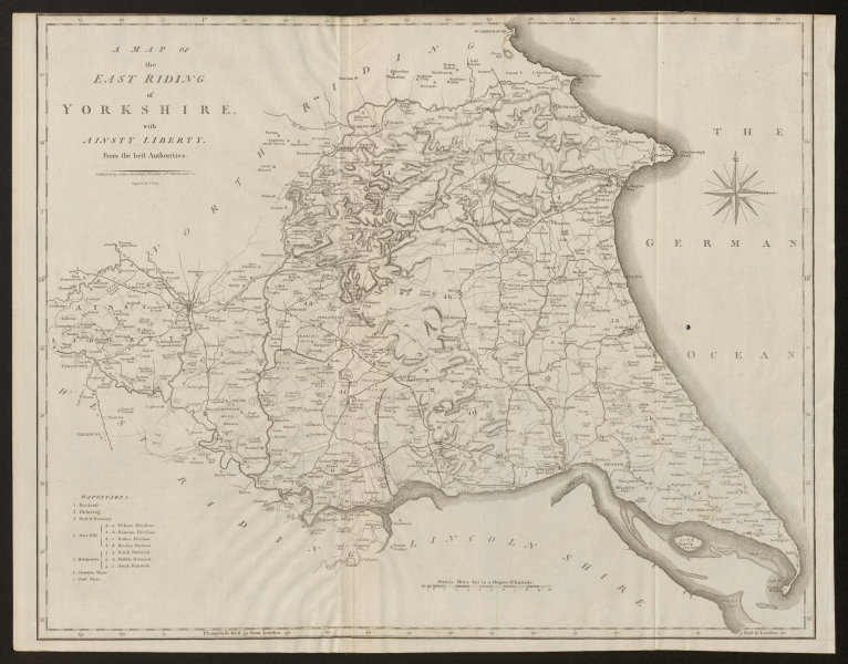 Associate Product A map of the East Riding of Yorkshire with Ainsty Liberty by John CARY 1805