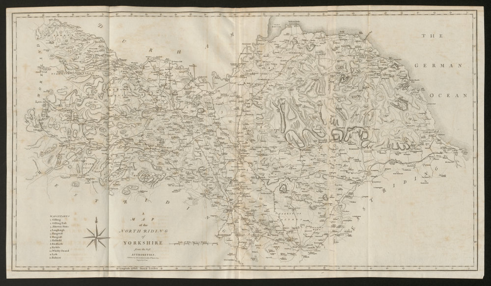 """Associate Product """"A map of the North Riding of Yorkshire"""" by John Cary. County map 1805 old"""