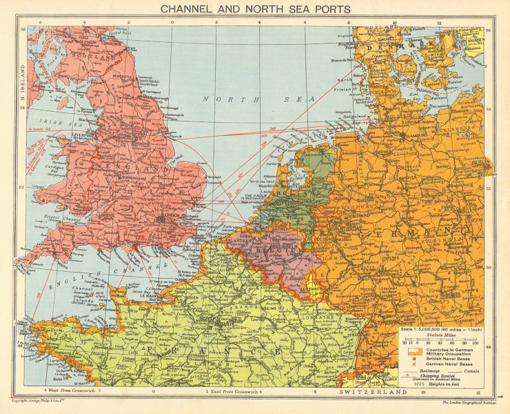 Map Of Germany North Sea.Details About World War 2 English Channel North Sea Ports German Occupied Europe 1942 Map
