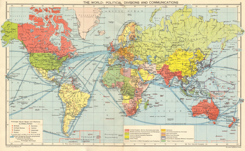 Details about WORLD WAR 2. Nazi-occupied Europe. Japanese China/Asia. Vichy  France 1942 map
