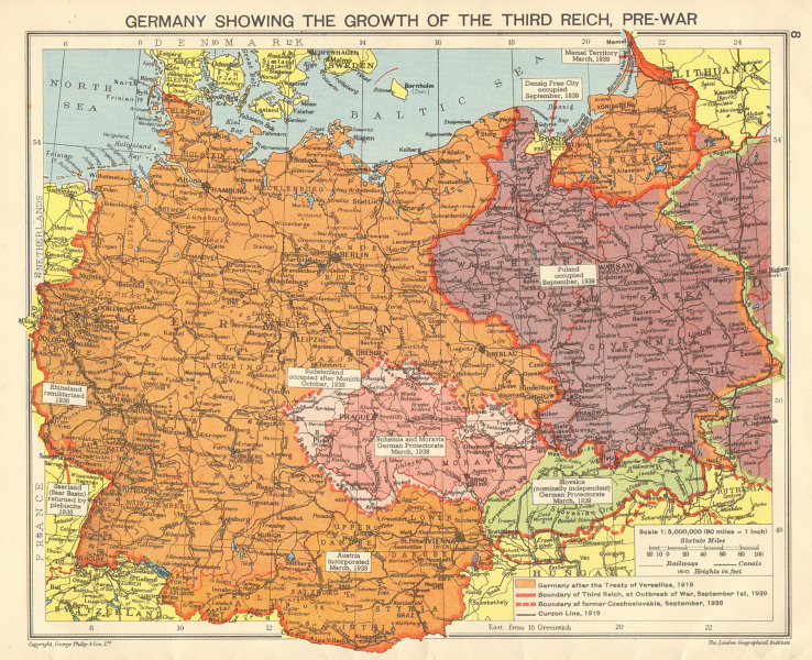 Nazi Germany Growth Of The Third Reich Occupied Poland Sudetenland
