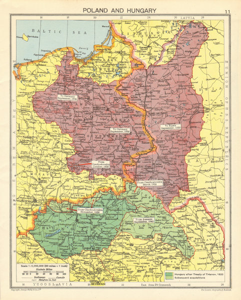 SECOND WORLD WAR division of Poland. Hungary expansion. Curzon line 1942 map