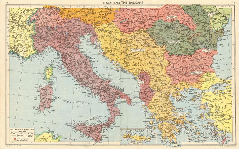 Associate Product WORLD WAR 2. Italian Istria Zara Lagosta Dodecanese Albania. Balkans 1942 map