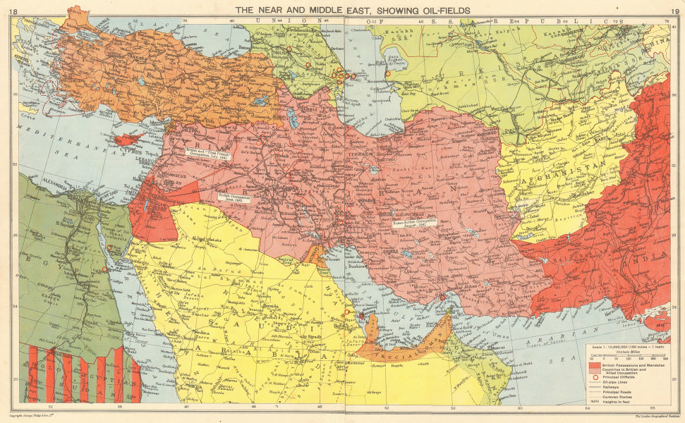 Associate Product WW2. British/Free French Middle East & oilfields. 'Dibai'/Dubai 1942 old map