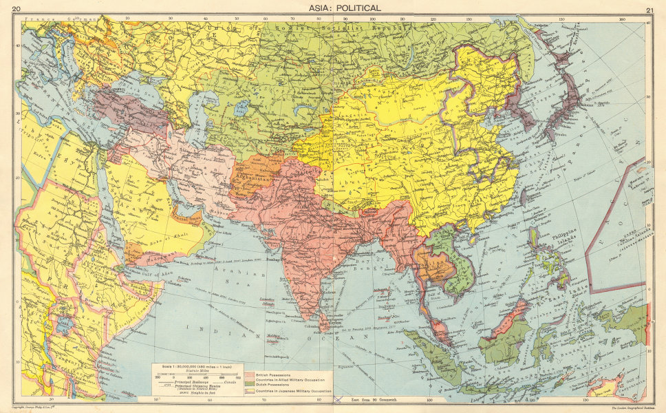 Map Of Asia And Middle East.Details About Ww2 Asia Japanese Occupied China Indochina Philippines Middle East 1942 Map