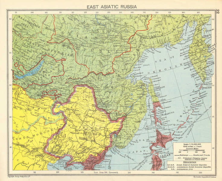 Associate Product SECOND WORLD WAR. Russia & Japanese-occupied Manchuria. China 1942 old map