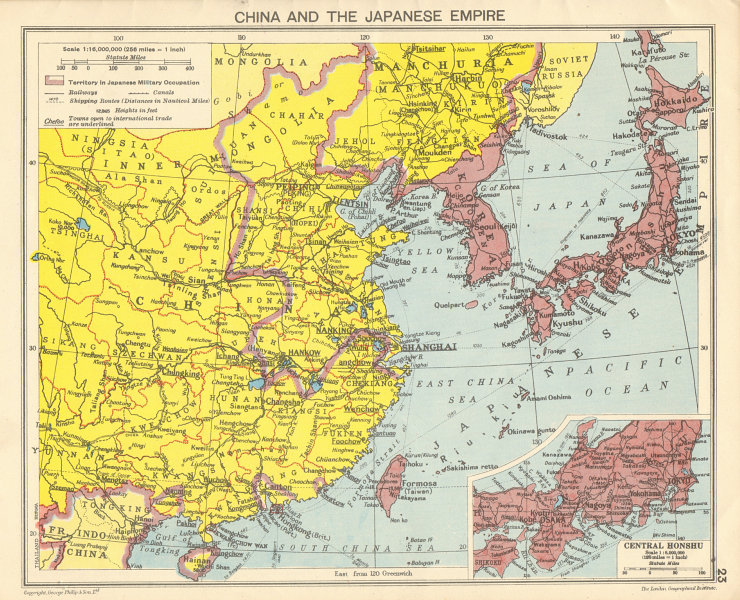 Associate Product WORLD WAR 2 Japanese occupied China, Korea, Taiwan, Hong Kong 1942 old map