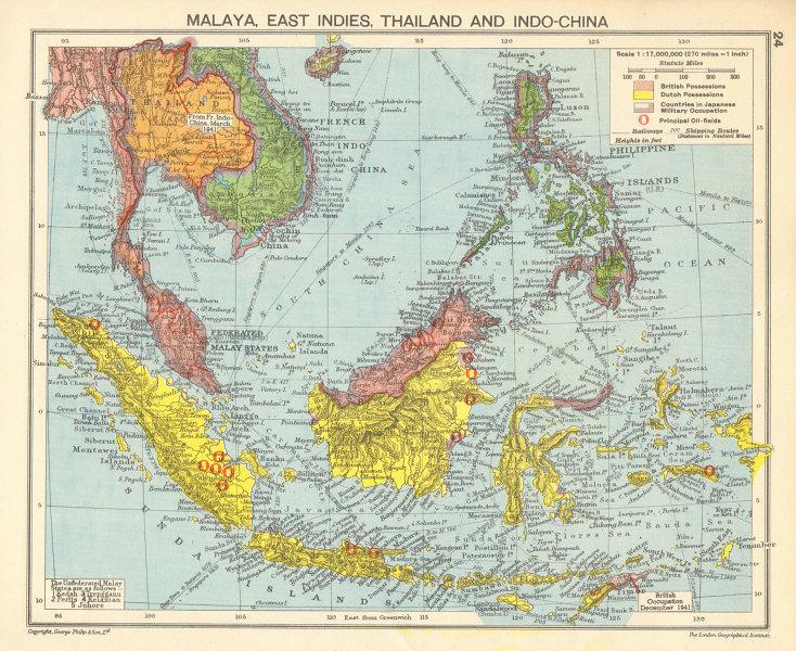Associate Product WORLD WAR 2 Japanese occupied Philippines Malaya Indochina Thailand 1942 map