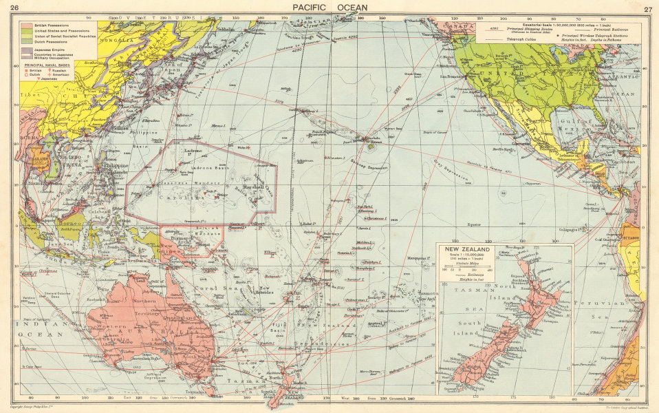 Associate Product WW2 Pacific Ocean. Japanese-occupied China Indochina Philippines 1942 old map