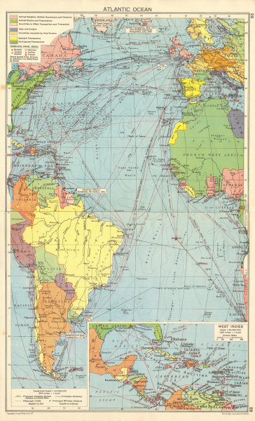 Details about WW2 Atlantic Ocean. Naval bases. US/British occupied Iceland  Guiana 1942 map