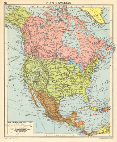 North America in 1942. Second World War. US Canada Mexico 1942 old ...