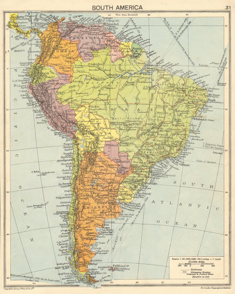 Associate Product South America. Second World War 1942 old vintage map plan chart