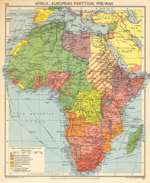 Associate Product Pre-SECOND WORLD WAR AFRICA. European colonies & German mandates 1942 old map