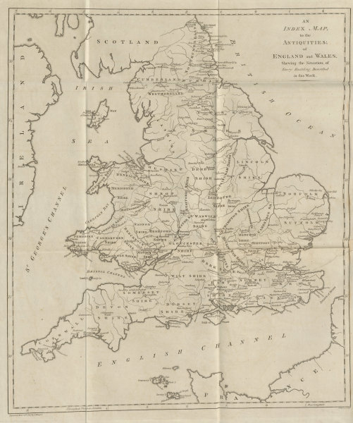 Associate Product 'The Antiquities of England & Wales', by Vivares for Francis Grose 1787 map