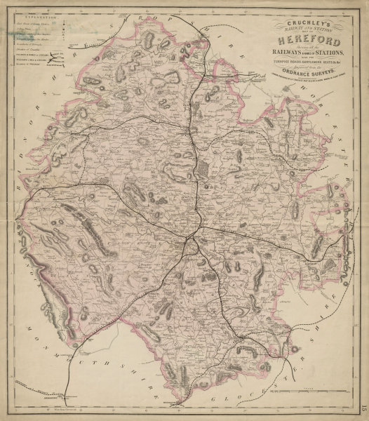 Associate Product Cruchley's railway & station map of Herefordshire. Antique map 57x50cm c1865