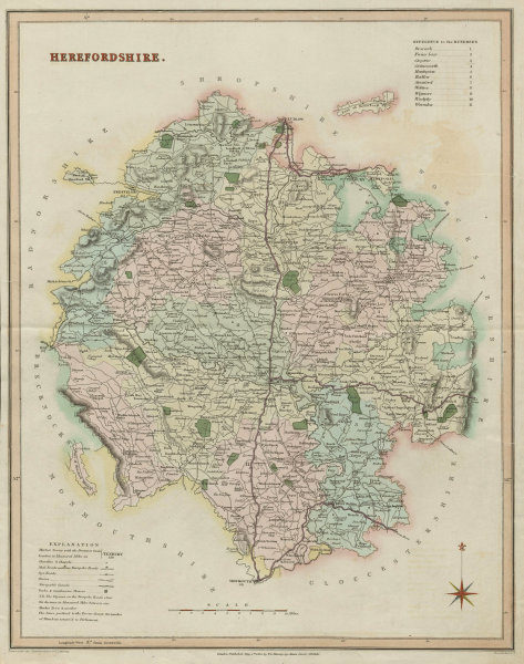 Associate Product Herefordshire antique county map by T.L. Murray. Hand coloured 1830 old