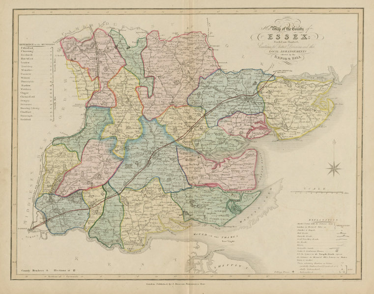 Associate Product 'New map of the county of Essex' post Reform Act, by James Duncan. Coloured 1833