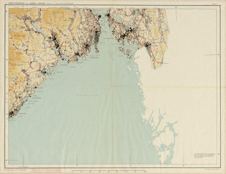 Associate Product Norway Norge settlements. Skien Arendal Halden. Ostlandet 48x62cm 1950 old map
