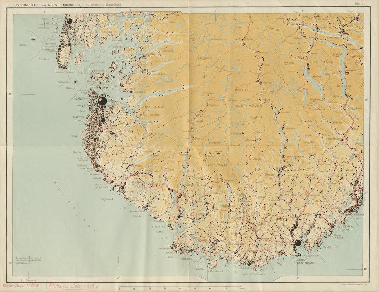 Associate Product Norway Norge settlements. Stavanger Kristiansand Rogaland Agder 48x62cm 1950 map
