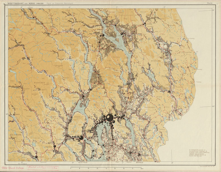 Associate Product Norway Norge settlements. Hamar Oslo. Oppland Hedmark Buskerud 48x62cm 1950 map