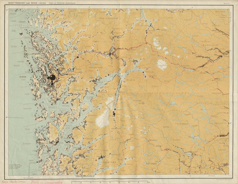 Associate Product Norway Norge settlements. Haugesund Bergen. Telemark Hordaland 48x62cm 1950 map