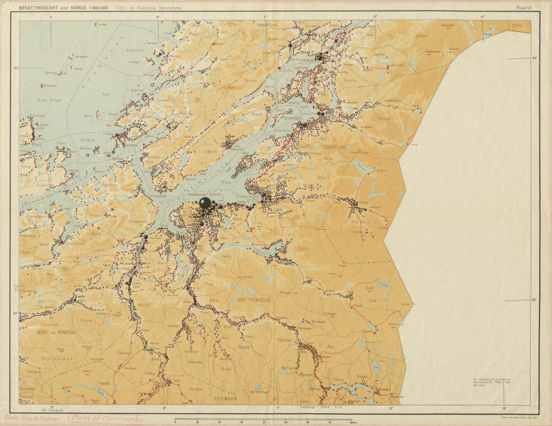 Associate Product Norway Norge settlements. Trondheim Steinkjer. Trondelag 48x62cm 1950 old map