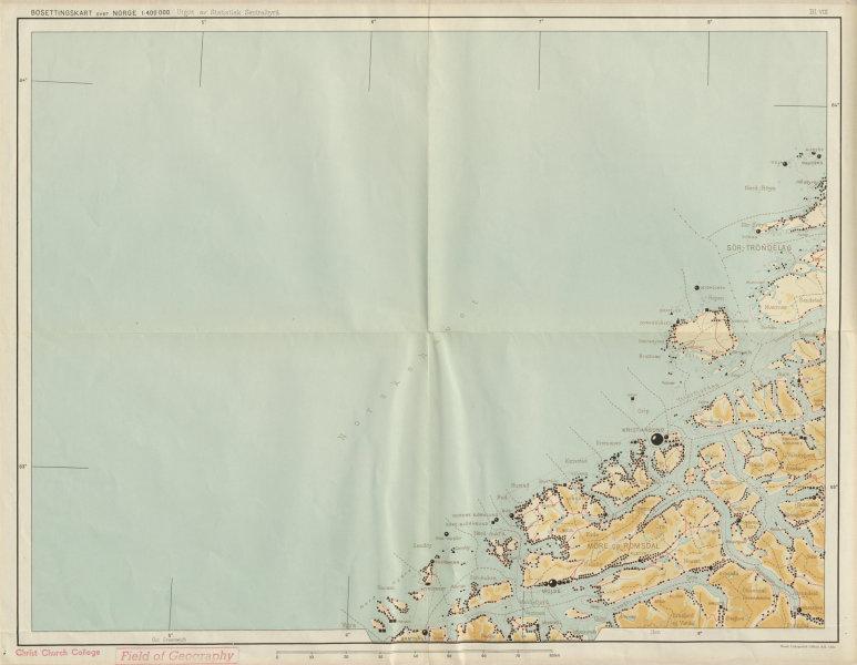 Associate Product Norway Norge settlements. Kristiansund. Vestlandet More/Romsdal 48x62cm 1950 map