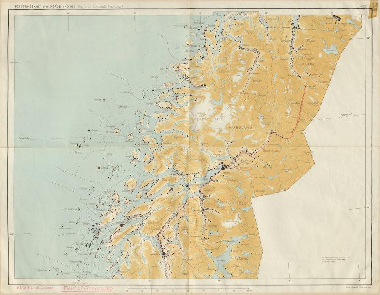 Associate Product Norway Norge settlements. Mo Mosjöen Mosjoen. Nordland 48x62cm 1950 old map