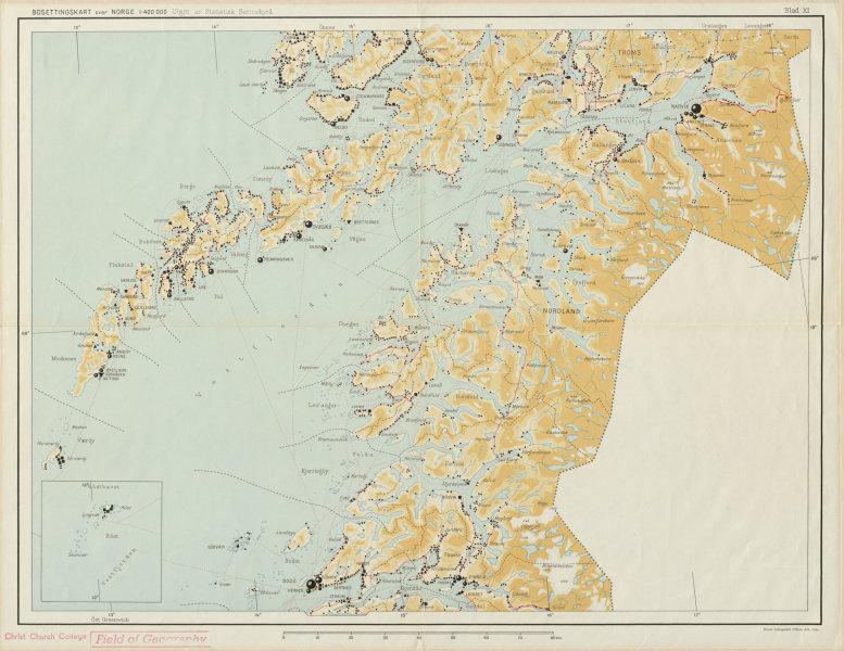 Associate Product Norway Norge settlements. Bodö Bodo Narvik. Nordland Troms 48x62cm 1950 map