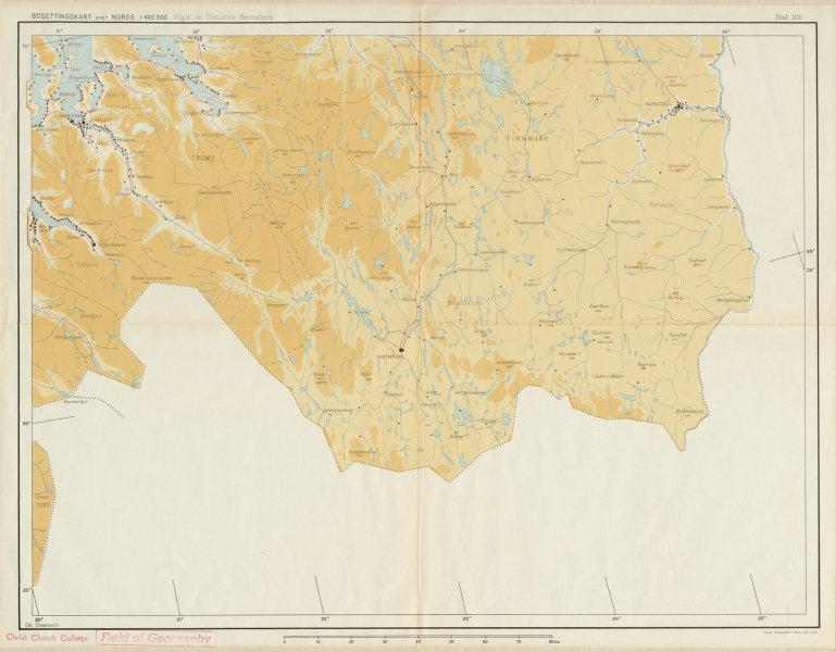 Associate Product Norway Norge settlements. Karasjok Kautokeino. Finnmark Troms 48x62cm 1950 map